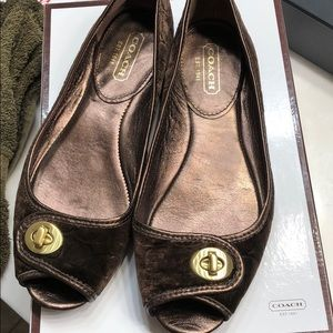 Coach Shoes - Good/EUC  sz 7.5 Coach flats open toe chocolate